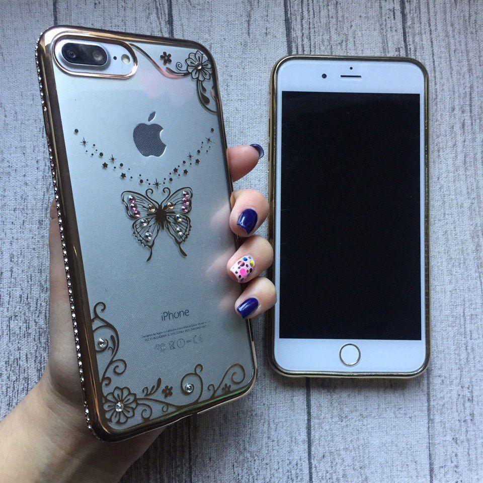Силиконовый золотой чехол с узором бабочки и стразами для iPhone 7 Plus