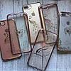 Силиконовый золотой чехол с узором бабочки и стразами для iPhone 7 Plus, фото 2