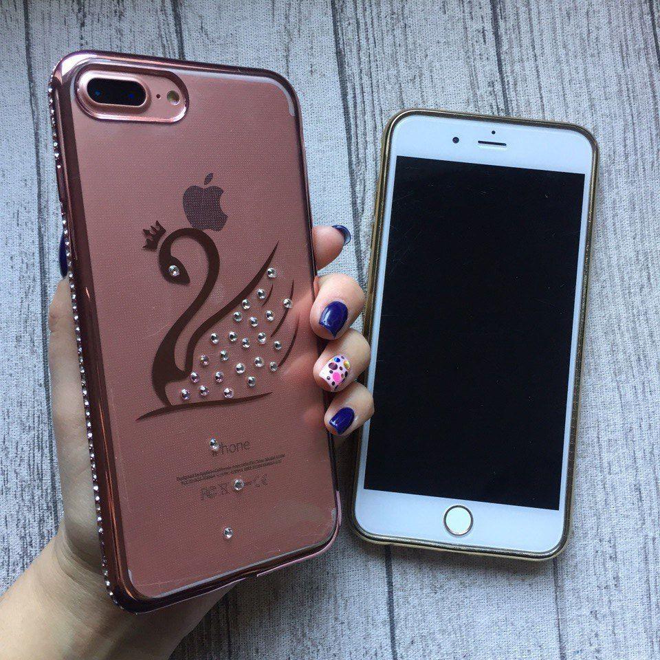 Силиконовый розовый чехол с узором лебедя и стразами для iPhone 7 Plus