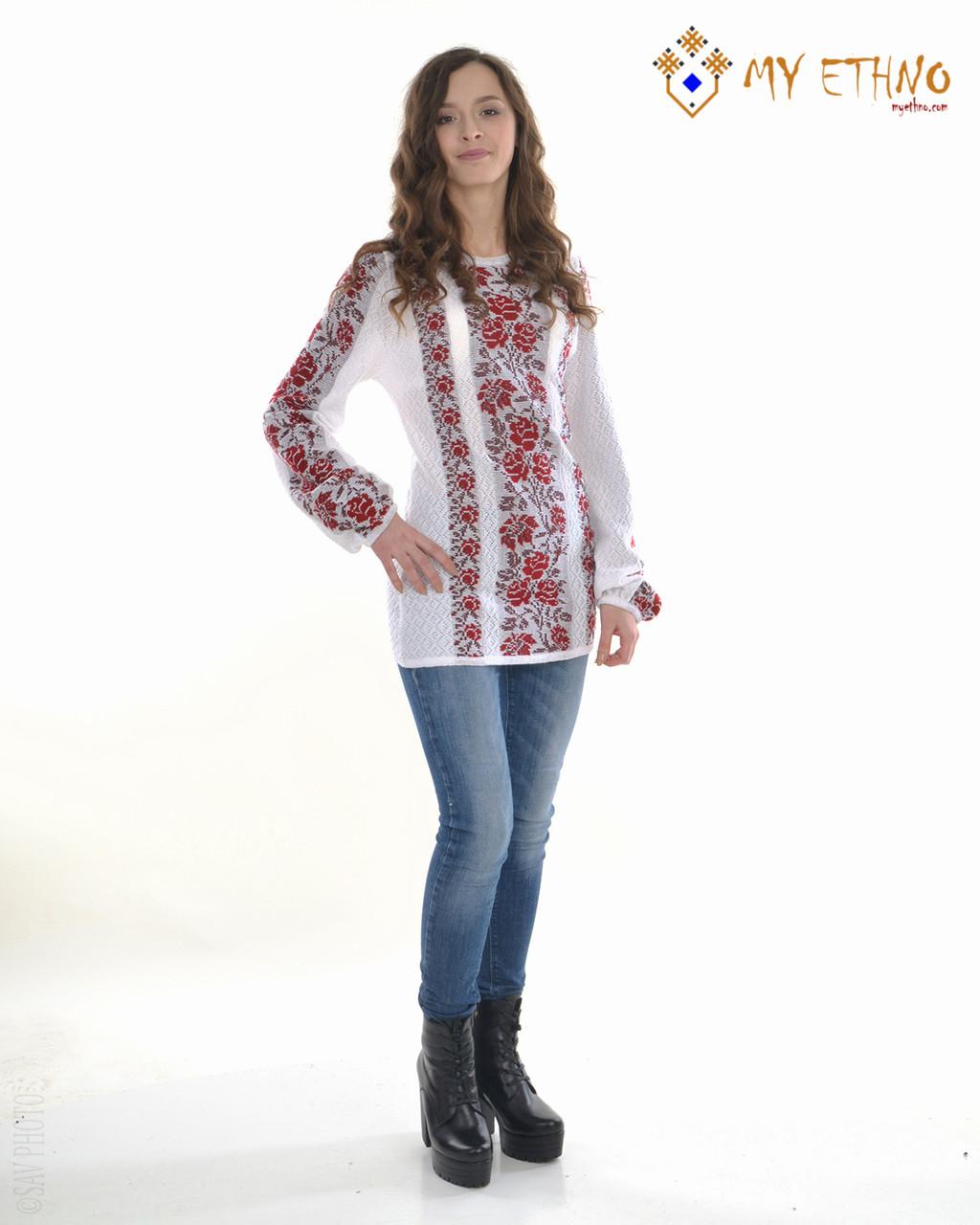 Женская рубашка вязаная Роза красная (х/б)