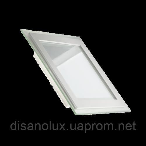 Светодиодный  светильник  LED 12W 6500К (КВАДРАТ + СТЕКЛО)
