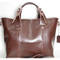 Брендовая кожаная женская сумочка Fashion коричневая