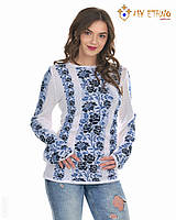 Женская рубашка вязаная Роза синяя (х/б), фото 1