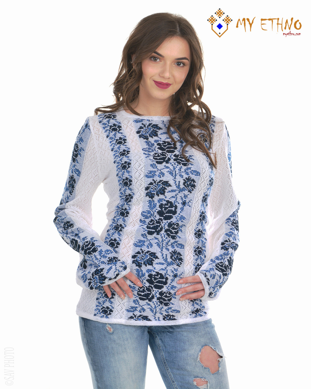 Женская рубашка вязаная Роза синяя (х/б)