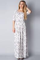 Платье в пол из льна белое П185
