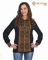 Женская рубашка вязаная Влада коричневая (х/б), фото 1