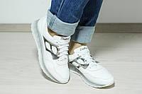 Кроссовки женские кожаные на шнурке белые