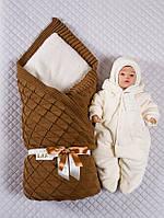Нарядныйт вязаный конверт-одеяло,комбинезон и шапка., фото 1