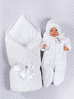 Нарядныйт вязаный конверт-одеяло,комбинезон и шапка.