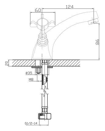 Imprese Cuthna antiqua двухвентильный смеситель для раковины, бронза, фото 2