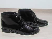 Лаковые Ботинки без каблука