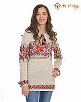 Женская рубашка вязаная Роза красная горизонтальная, фото 1