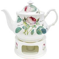Чайник с подогревателем Роза (фарфор)