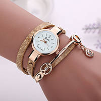 Женские часы-браслет на длинном ремешке (Золотистые)