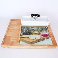 Комплект для сыра (дерево, фарфор)