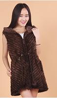 Женская норковая жилетка из скандинавской вязанной норки на подкладке