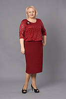 Платье новинка Лаура  больших размеров нарядное, красивое, модное модели размера 52, 54, 56, 58, 60 бордовое