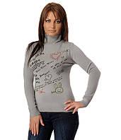 Женский свитер с сердечками серый, фото 1