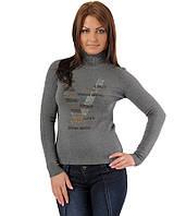 Женский свитер надписи V серый, фото 1