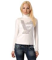 Женский свитер надписи V белый
