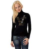 Женский свитер Надписи V  черный