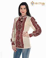 Женская рубашка вязаная Цветочек красный, фото 1