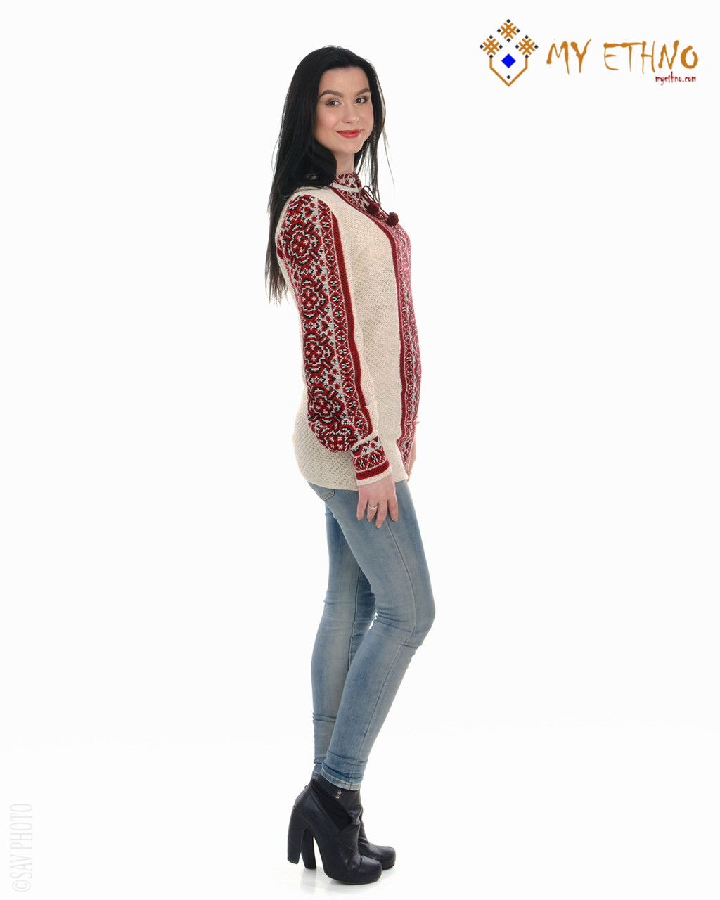 Женская рубашка вязаная Цветочек красный