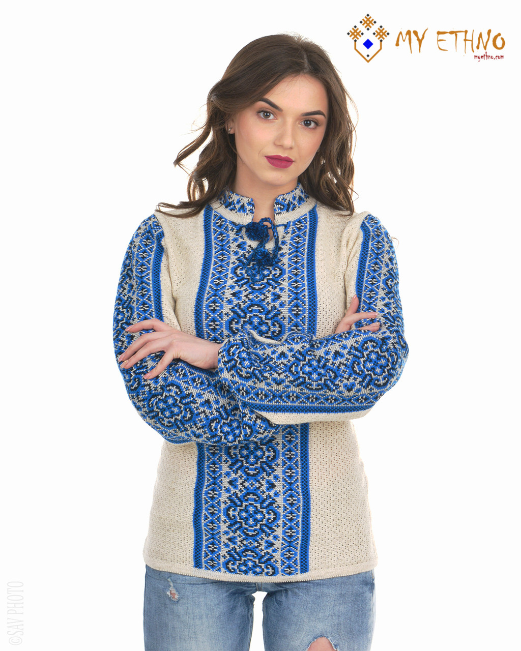 Женская рубашка вязаная Цветочек ультра