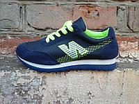 Кроссовки женские синие с салатовым удобные спортивные M028