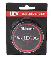 Нихром для электронных сигарет Nichrome UD, 28 AWG / 0,3 мм/ 14,57 Ом/м (10 метров)