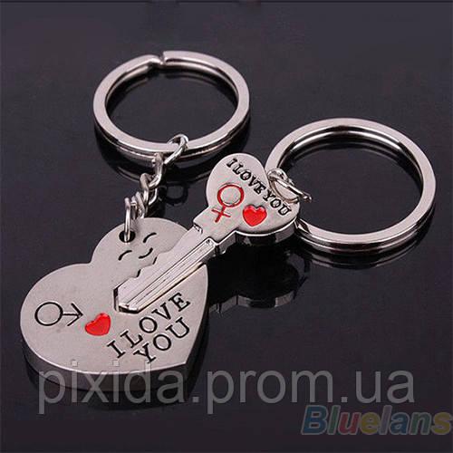 Парный двойной брелок Сердце с ключом