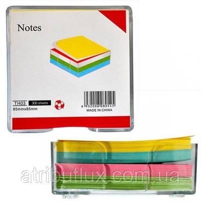 Бумага для заметок 85х85 цветная 300л в пласт. кубе