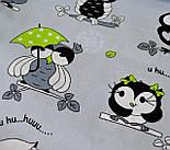 """Ткань бязь """"Совы с салатовым зонтиком"""" на сером фоне (№ 639), фото 4"""