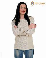 Женская рубашка вязаная Ромбы белые, фото 1