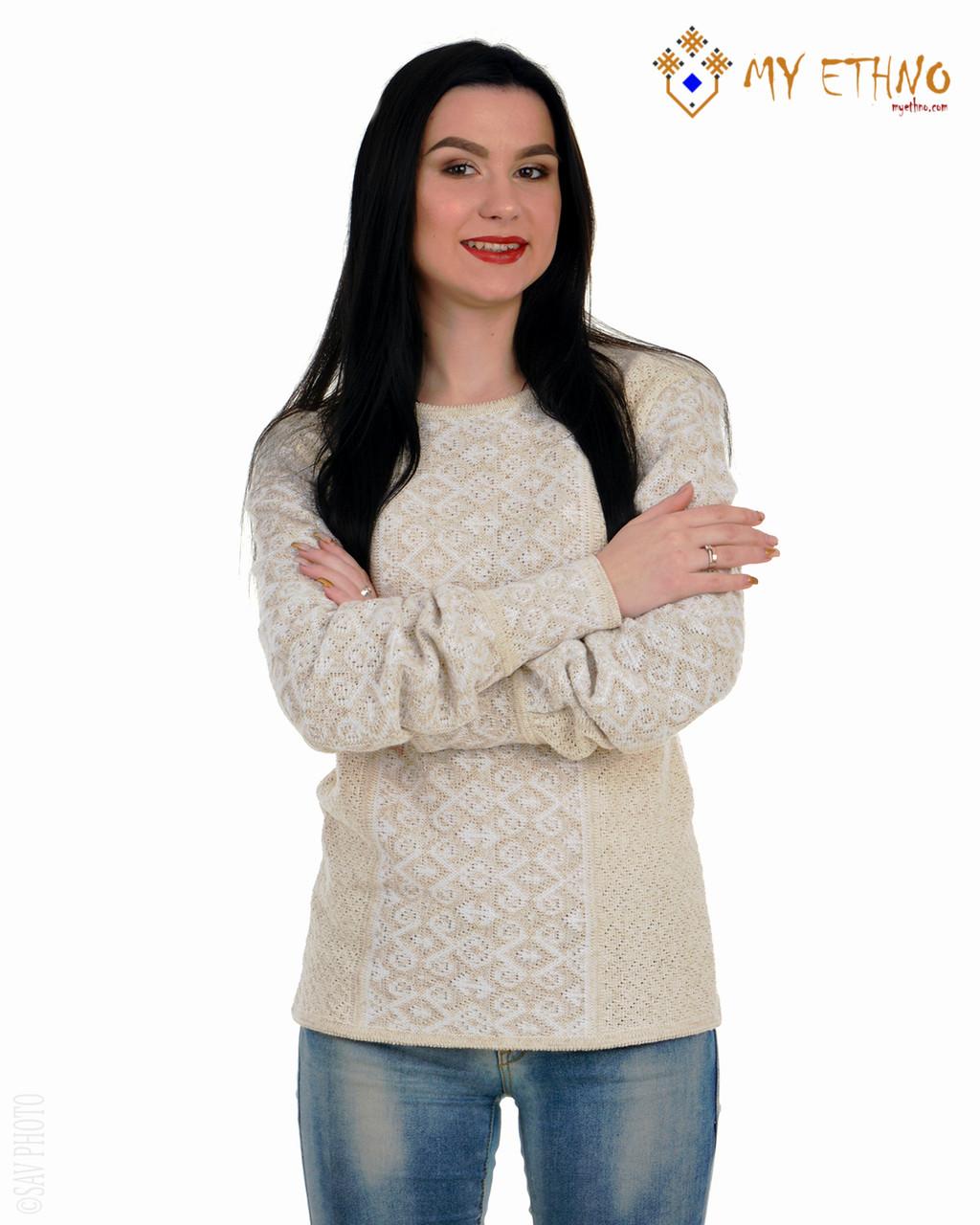 Женская рубашка вязаная Ромбы белые