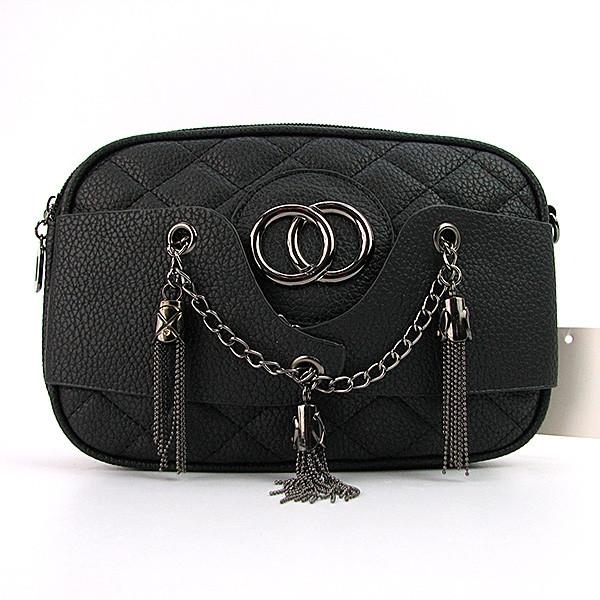 Клатч-сумочка женская кожзам черная 835-1-1