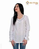 Женская рубашка вязаная Маруся белая (х/б), фото 1