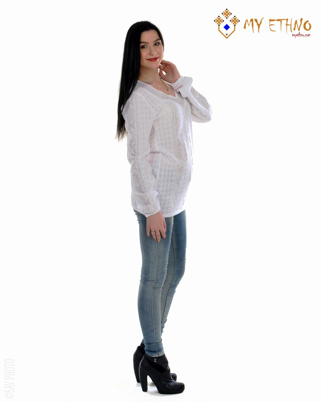 Женская рубашка вязаная Маруся белая (х/б)