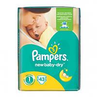Подгузники Pampers New Baby-Dry Размер 1 (Для новорожденных) 2-5 кг, 43 подгузника
