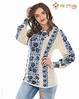 Женская рубашка вязаная Роза темно-синяя (лен), фото 1