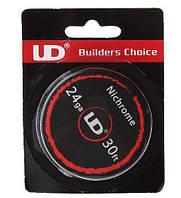 Нихром для намотки спиралей Nichrome UD, 24 AWG / 0,5 мм/ 5,31 Ом/м (10 метров)