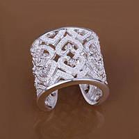 Кольцо Каркасное широкое с кристаллами  покрытие 925 серебро проба