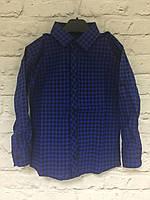 Рубашка темно-синяя в клетку для мальчика на кнопке 1-5 лет