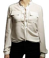 Блуза женская с шнуровкой. Молочная.