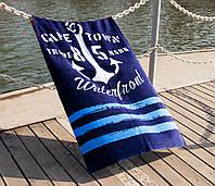 Полотенце пляжное велюр 75х150 Waterfront синий Lotus