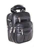 Удобная мужская сумка-барсетка из кожзама черная