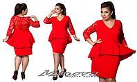 Платье женское нарядное креп-дайвинг + вставки из гипюра размеры 50-56