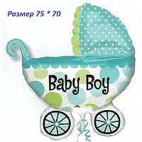 Фольгированный шарик Коляска детская голубая 75 х 70 см