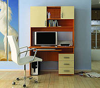 Удобный однотумбовый компьютерный стол Пиксель Ольха+Крем