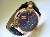 Мужские часы Vacheron Constantin на черном ремешке, механика с автозаводом, цвет корпуса розовое золото